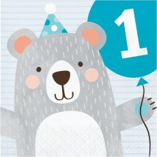 1st Birthday Bear Party Supplies - Lunch Napkins 1st