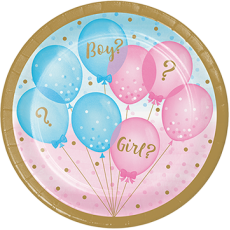 Round Gender Reveal Lunch Plates 18cm Pack of 8