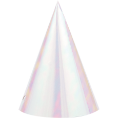 Iridescent Foil Cone Party Hats 15cm x 11cm Pack of 8