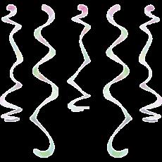 Iridescent Foil Dizzy Danglers Swirls Hanging Decorations 45cm Pack of 10