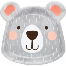 1st Birthday Bear Party Supplies - Dinner Plates Shaped Paper