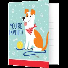 Dog Foldover Invitations 10cm x 13cm Pack of 8