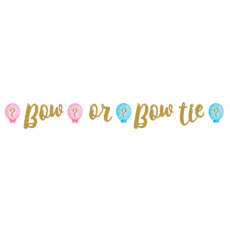Gender Reveal Glittered Ribbon Banner