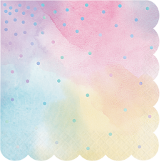 Iridescent Foil Shaped Lunch Napkins Pack of 16