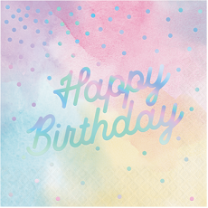 Iridescent Foil Happy Birthday Lunch Napkins Pack of 16