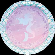 Round Mermaid Shine Iridescent Lunch Plates 18cm Pack of 8
