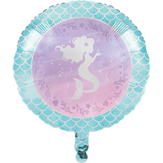 Round Mermaid Shine Iridescent Foil Balloon 45cm