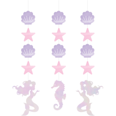 Mermaid Shine Iridescent String Cutout Hanging Decorations 57cm x 15cm Pack of 3