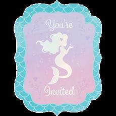 Mermaid Shine Iridescent Invitations 15cm x 114cm Pack of 8