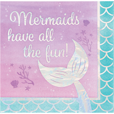 Mermaid Shine Iridescent Mermaids have all the fun! Lunch Napkins Pack of 16