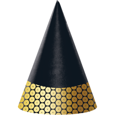Gold Black & Foil Decor Cone Party Hats