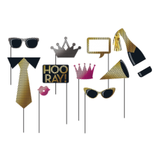Black & Gold Foil Decor Booth Photo Props Pack of 10