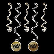 Black & Gold Foil Decor Dizzy Dangler Swirls YAY Hanging Decorations 83cm Pack of 5