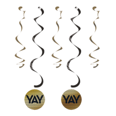 Gold Black & Foil Decor Dizzy Dangler Swirls Hanging Decorations