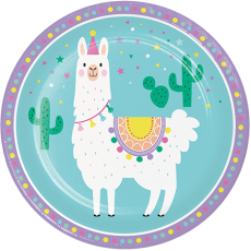 Round Llama Fun Party Dinner Plates 22cm Pack of 8