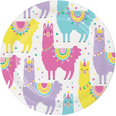 Round Llama Fun Party Lunch Plates 18cm Pack of 8