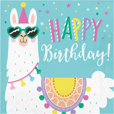 Llama Fun Party Happy Birthday! Lunch Napkins Pack of 16