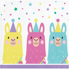 Llama Fun Party Beverage Napkins