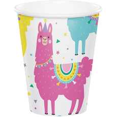 Llama Fun Party Paper Cups 266ml Pack of 8
