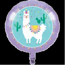 Round Llama Fun Party Foil Balloon 45cm