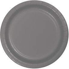 Grey Party Supplies - Lunch Plates Paper Glamour Gray Round