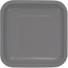 Grey Party Supplies - Lunch Plates Paper Glamour Gray Square