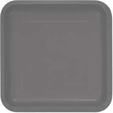 Grey Party Supplies - Dinner Plates Paper Glamour Gray Square