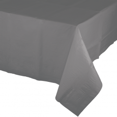 Grey Party Supplies - Table Cover Tissue & Plastic Back