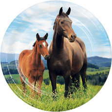 Round Horse and Pony Lunch Plates 18cm Pack of 8