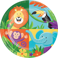 Round Jungle Safari Lunch Plates 18cm Pack of 8