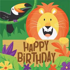 Jungle Safari Happy Birthday Lunch Napkins Pack of 16