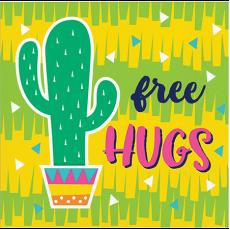 Fiesta Fun Cactus Design free HUGS Beverage Napkins Pack of 16