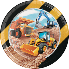 Round Big Dig Construction Dinner Plates 22cm Pack of 8