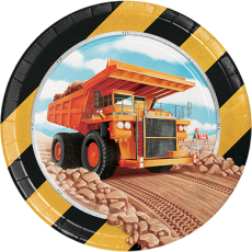 Round Big Dig Construction Lunch Plates 18cm Pack of 8