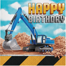 Big Dig Construction Happy Birthday Lunch Napkins Pack of 16