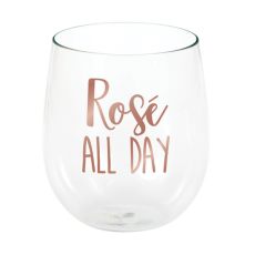 Bridal Shower Rose Gold Rose All Day Stemless Wine Plastic Glasse
