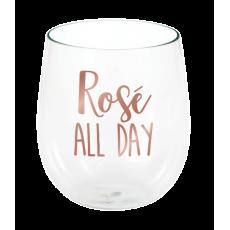 Rose Gold Bridal Shower Rose All Day Stemless Wine Plastic Glass