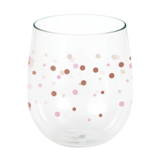 Bridal Shower Rose Gold Rose All Day Dots Stemless Wine Plastic Glasse