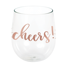 Bridal Shower Rose Gold Rose All Day Cheers! Stemless Wine Plastic Glasse