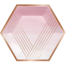 Hexagonal Rose Gold Bridal Shower Rose All Day Stripes Banquet Plates 25cm Pack of 8