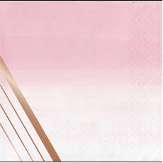 Rose Gold Bridal Shower Rose All Day Stripes Beverage Napkins Pack of 16