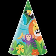 Jungle Safari Cone Party Hats 16cm x 11cm Pack of 8