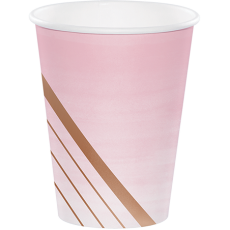 Bridal Shower Rose Gold Rose All Day Stripes Paper Cups