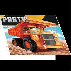 Big Dig Construction Foldover Invitations 10cm x 12cm Pack of 8