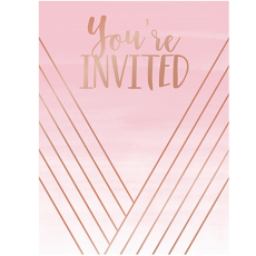 Rose Gold Bridal Shower Rose All Day Stripes Invitations Pack of 8