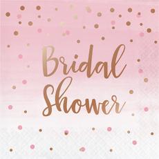 Rose Gold Bridal Shower Rose All Day Dots Script Lunch Napkins Pack of 16
