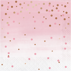 Rose Gold Bridal Shower Rose All Day Dots Lunch Napkins Pack of 16