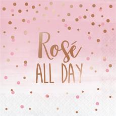 Bridal Shower Rose Gold Rose All Day Lunch Napkins