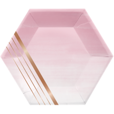 Hexagonal Rose Gold Bridal Shower Rose All Day Stripes Lunch Plates 20cm Pack of 8