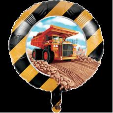 Round Big Dig Construction Foil Balloon 45cm